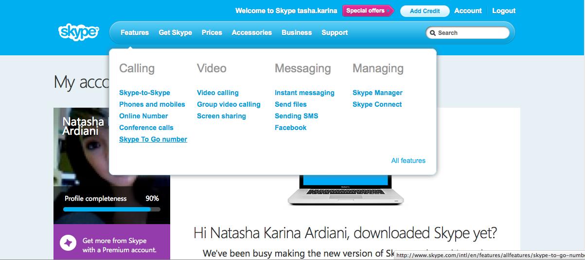 Pilih opsi 'Skype To Go Number'